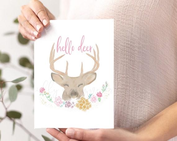 Hello Deer Printable Card, Hello Deer, Hello Deer Card, Hello Deer Gift, Hello Deer Printable, Whimsical Card, Whimsical Printable, Woodland