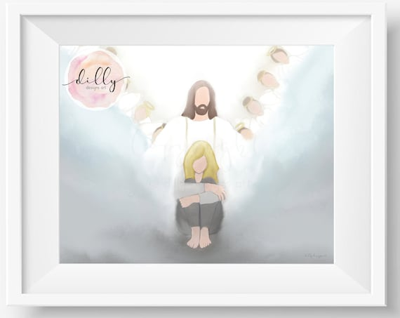 Hope, Religious Art, Depression Gift, Artwork About Hope, Printable Gift, Sympathy Gift, Obstacles, Trials, Angels, Christ, Lord, Jesus Art