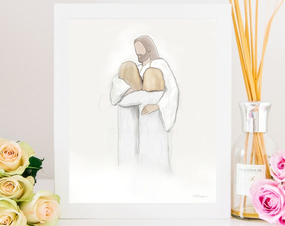 Loss of children, Angels In Heaven, Girls Hugging Christ, Jesus Hugging Girls, Welcome Home, Meeting In Heaven, Child Loss Gift, Heaven Art