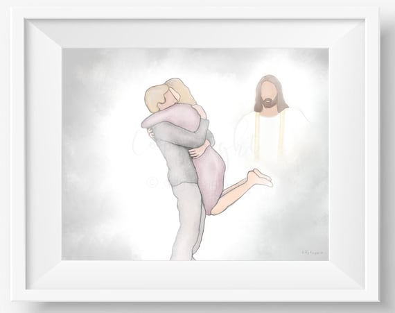 Reunion In Heaven, Jesus Christ Painting, Digital Artwork, Man and Woman, Memorial Service, Celestial Art, Celebration of Life, Comforting