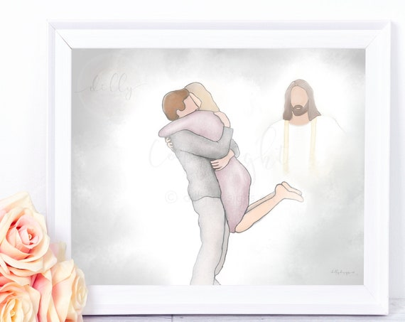 Heavenly Greeting, Man Hugging Woman, Bereavement Gift, Loss of Wife, Loss of Husband, Loss of Brother, Loss of Sister,  Christ Artwork, Art