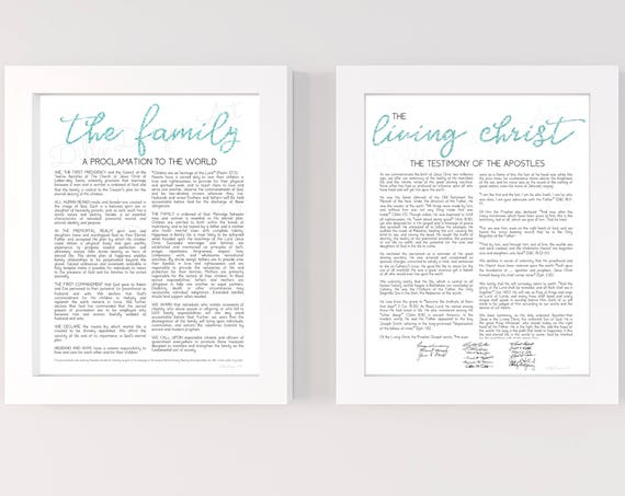 Family Proclamation, Living Christ, Proclamation, LDS Proclamation, The Family Proclamation, Living, Christ, Family, LDS Sign, Mint Glitter