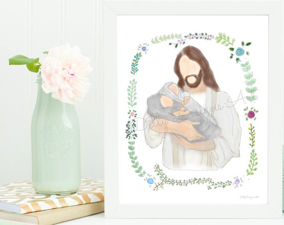 Infant Loss Gift, Infant Loss, Miscarriage Gift, Miscarriage, Angel Babies, Twin Loss, Loss of Twins, Christ, Christ Art, LDS Art, Embrace