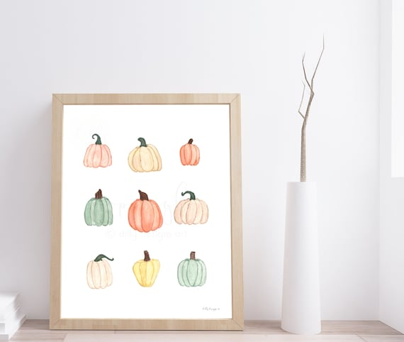 Watercolor Pumpkins, Gourd, Hello Fall Painting, Fall Watercolor, Autumn, Fall Decor, Autumn Decor, Pumpkin Art, Minimalist Pumpkins, Print