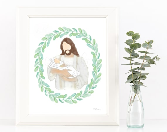 Baby and Jesus, Miscarriage, Infant Loss, Keepsake Gift, Digital Print, In His Arms, Printable Art, Digital Illustration, Loss, Comfort, Art