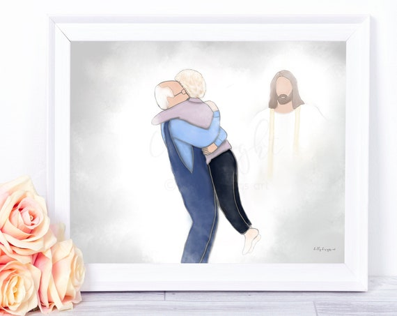 Reunion in Heaven, We'll Meet Again, Spouse Loss, Loss of Parents, Funeral Gift, Funeral Art, Memorial Gift, Memorial Art, Gift for Grieving