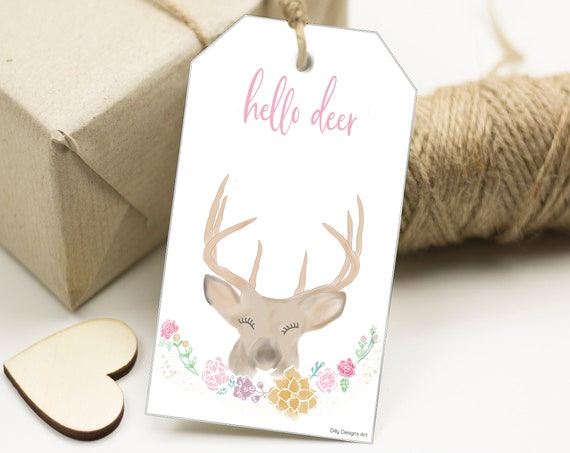 Hello Deer Printable Tag, Celebration, New Baby, Baby Shower, Birthday Gift, Gift Tags, Printable Tags, Whimsical, Forest, Deer, Art Tags