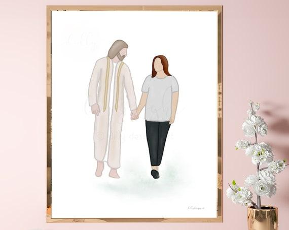 Christ Walking With Woman, Comforting Art, Woman With Jesus, Woman With Christ, Woman Walking With Jesus, Spiritual Art, Christian Printable