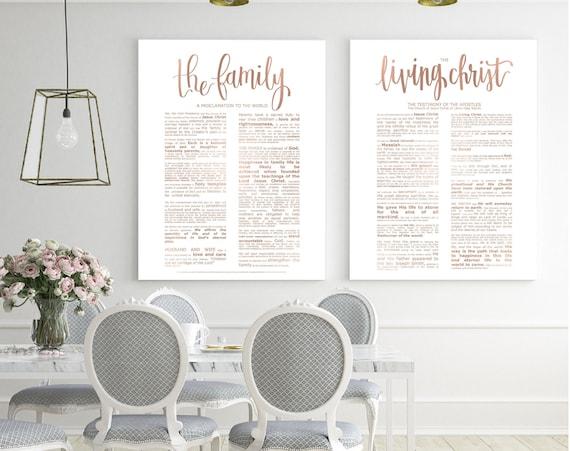 Family Proclamation, Living Christ, Bundle, Modern Emphasized, Rose Gold, Modern Family Proc, Church Printables, Church of Jesus Christ, Art