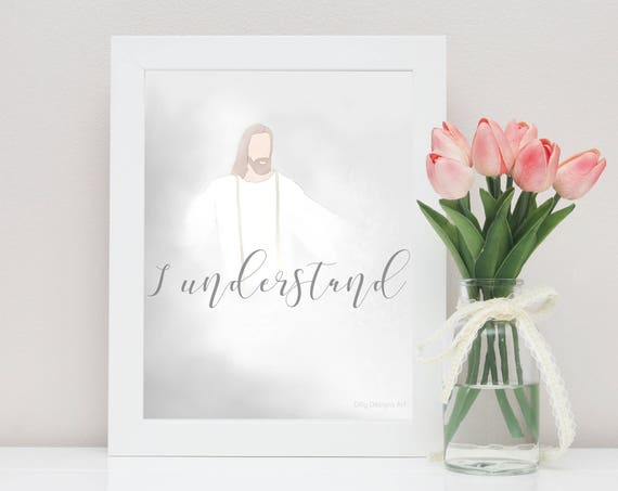 LDS Art, Christ, Sympathy Gift, Condolence Gift, Sympathy Gifts, Remembrance Gift, Bereavement Gift, Obstacles, LDS, Christ Arms Open