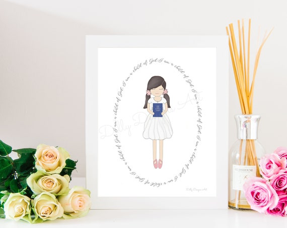Girl Baptism, Baptism Gift, LDS Primary, LDS Primary Art, LDS Primary Gift, Lds Baptism, Lds Baptism Art, Lds Baptism Gift, Mormon Baptism