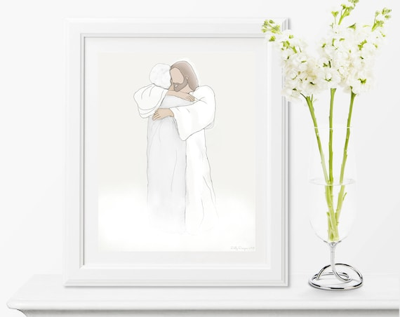 Loss of Loved One, Christ, Loss of Grandparent, Loss of Grandma, Funeral, Funeral Art, Funeral Gift, Funeral Service, Heaven Art, Embrace
