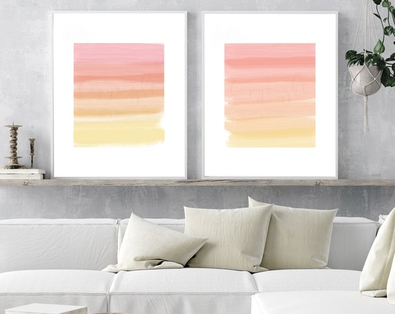 Watercolor Strokes, Digital Art, Abstract Art, Modern Art, Printable Wall Art, Printable Office Decor, Sunset Colors, Printable Watercolor