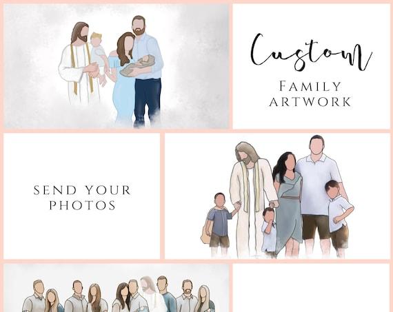 Custom Family Artwork, Faceless Family Portrait, Digital Watercolor, Custom Hand Painted Gift, Custom Family Portrait, Jesus With Family Art