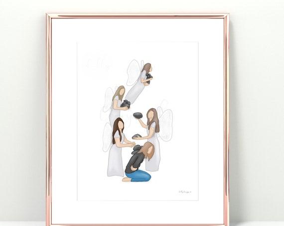 Angels Carrying Away Rocks, Digital Painting, Printable Artwork, Depression Gift, Gift For Hope, Angels Removing Rocks, Guardian Angels, Art