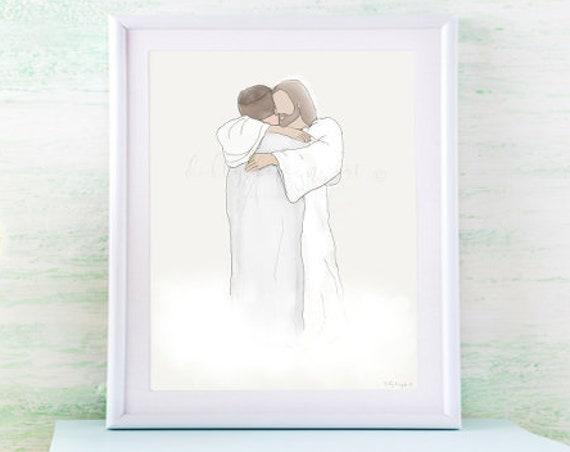 Christ Hugging Man, Sympathy Gift, Sympathy Art, Sympathy, Printable Sympathy Gift, Sympathy Artwork, Condolence Gift, Condolence, Funeral