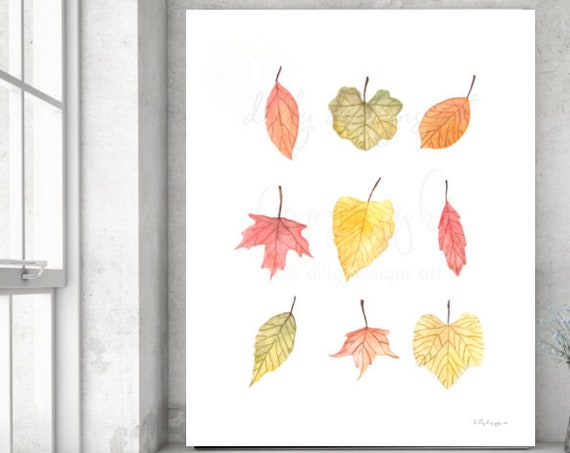 Fall Leaves, Watercolor Fall Print, Printable Wall Art, Autumn Decor, Fall Decor, Autumn Painting, Fall Wall Art, Minimalist Decor, Modern