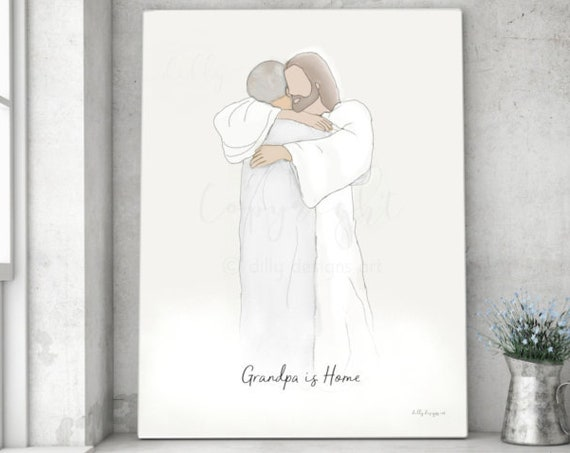 Grandpa is Home, Memorial Art, Gift For Memorial, Gift For Funeral, Home Decor, Printable Art, Download Immediately, Personalized Gift, Loss