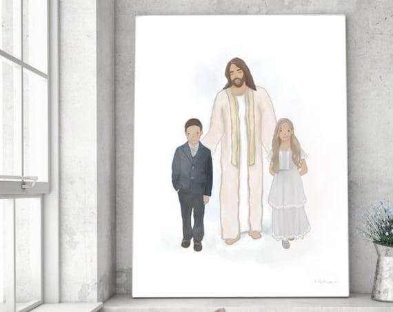 Christ Walking With Children, Church Artwork, Jesus Christ, Boy With Christ, Girl With Christ, Instant Download, Jesus Printable, Christ Art