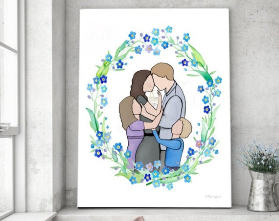 Forget Me Not, Baby Loss, Instant Printable, Loss of Baby, Gifts for Infant Loss, Memorial Gift, Keepsake Art, Family Portrait, Family Art