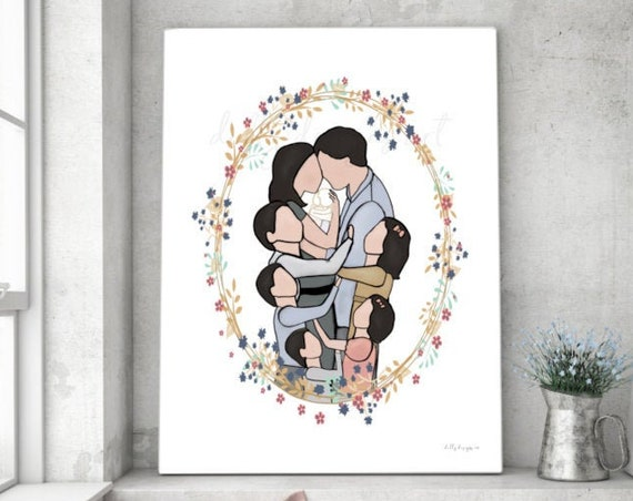 Angel Baby, Faceless Family, Instant Download, Family Portrait, 5 Children, Dark Hair, Memorial Gift, Gift For Loss, Gifts For Miscarriage