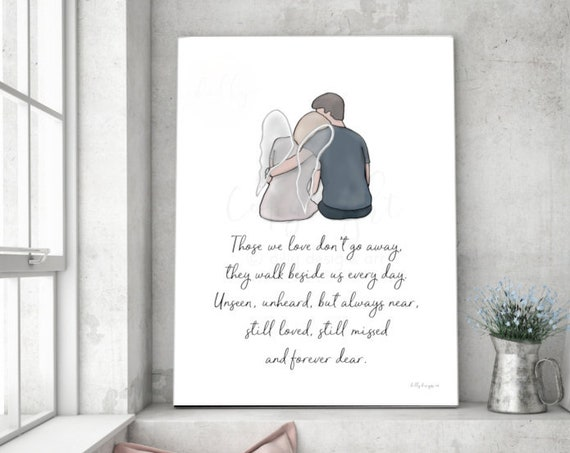 Angel Art, Those We Love Don't Go Away, Memorial Keepsake, Grief Art, Grieving Husband, Wife Loss, Spouse Loss, Wife Funeral, Mother Loss