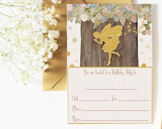 Fairy Birthday, 5x7, Fairy Invitation, Fairy Party, Fairy Invite, Birthday Invitation, Invitation, Fairy, Printable Invitation, Woodland Art