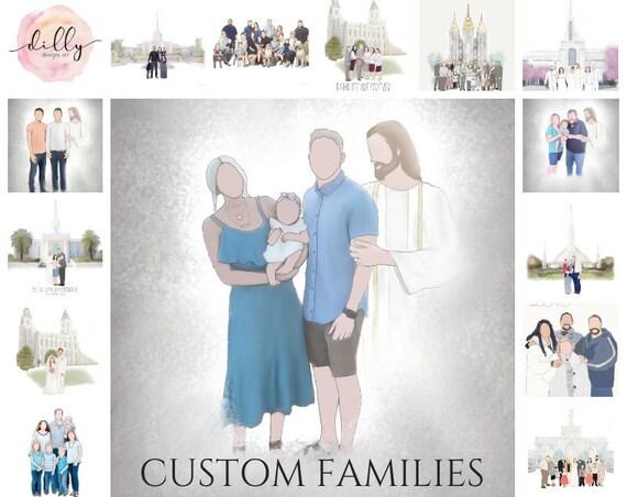 Custom Family, Christ With Family, Faceless Family, Custom Family Art, Family Drawing, Family Artwork, Family Art, Christ, LDS, Temples