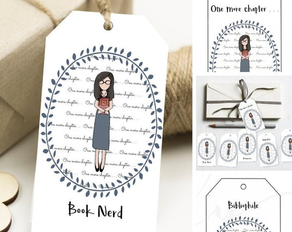 Book Nerd, Gift Tags, One More Chapter, Bibliophile, Book Worm, Printable Tags, Printable Gifts, Gift Tag, Book Lover, Book Gift,  Bookish