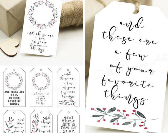 Holiday Gift Tags, Digital Gift Tags, Printable Gift Tags, Your Favorite Things, Favorite Things, Gift Tags, Present Tags, Holiday Tags, Tag