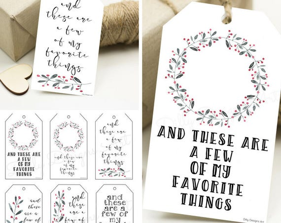 My Favorite Things, Favorite Things, Holiday Gift Tags, Digital Gift Tags, Printable Gift Tags, Gift Tags, Present Tags, Holiday Tags, Tag