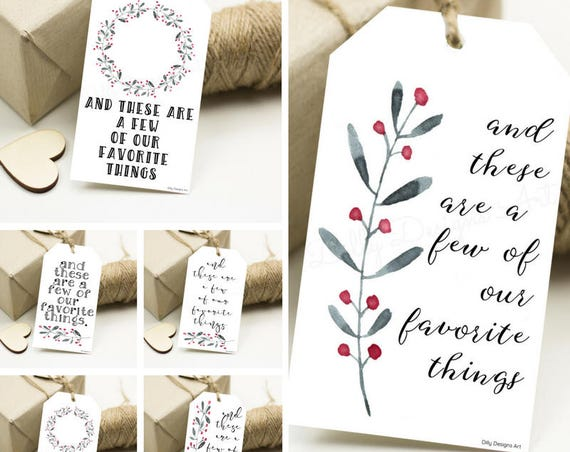 Printable Gift Tags, Christmas Gift Tags, And These Are A Few Of OUR Favorite Things, Watercolor Gift Tags, Gift Tags Christmas, Gift Tags