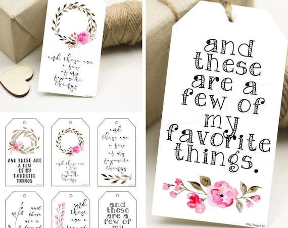 Favorite Things, My Favorite Things, Favorites, Favorites Party, Favorite Thing, Gift Tags, Gift Tag, Favor Tags, Tags, Printable Gift Tags
