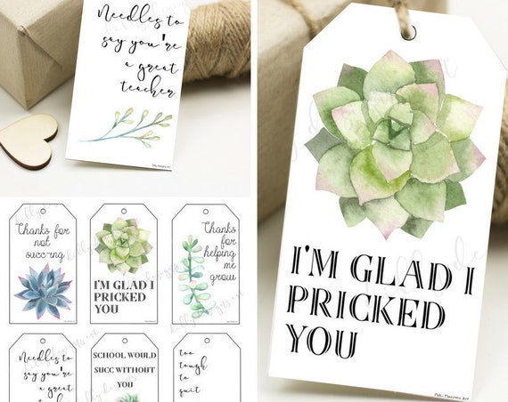 Succulent Tags, Succulent Gift Tags, Teacher Gift, Teacher Gift Tags, Succulent Gift Tag, Printable Gift Tag, Printable Gift Tags, Succulent