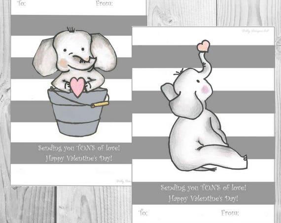 Kids Valentines, Valentines For Kids, Printable Valentines, School Valentines, Elephant Valentines, Elephant School Valentines, Valentine's