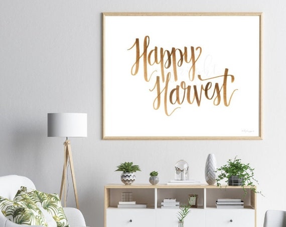 Happy Harvest Sign, Calligraphy Sign, Harvest Sign, Harvest Calligraphy, Happy Harvest Art, Fall Decor, Fall Art, Autumn Decor, Fall Artwork