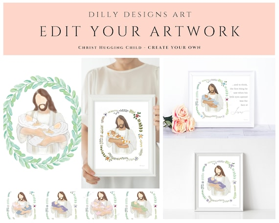 Edit Your Artwork, Christ Holding Baby, Change Blanket Color, Skin Tone, Wreath, Grieving Gift, Custom Gift, Personalized Gift, Jesus