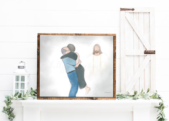 Reunion, Grandparents in Heaven, Parents in Heaven, Heavenly Embrace, Celebration of Life, Funeral Art, Memorial Art, Family Art,Bereavement