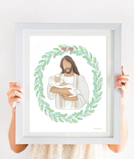 Printable Memorial, Christ Holding Baby, White Blanket, Two Losses, Loss of Babies, Twin Loss, Mom Bereavement, Baby Bereavment, Christian