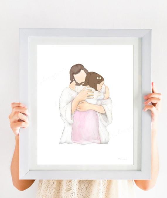 Baptism, LDS Baptism, LDS Baptism Gift, LDS, Baptism, Lds Art, Primary, Lds Primary, Baptism Gift, Christ, Christ Art, Christ Hugging Girl