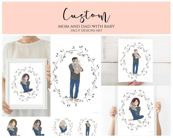 Custom, Personalize, Angel Baby Artwork, Man Holding Baby, Woman Holding Baby, Edit Hair, Edit Skin Tone, Multiples, Angel Babies, Keepsake