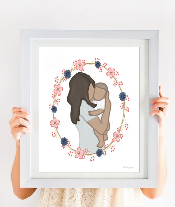 Mother & Baby, Mother's Gift, Mom and Baby Art, New Baby, New Mom, Baby Shower Gift, New Mom Gift, Mothers Gift, Mother Art, Nursery Artwork