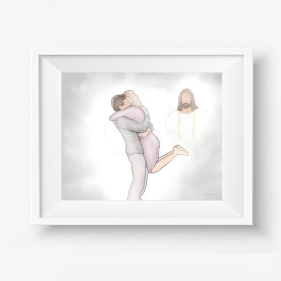 Heavenly Reunion, Jesus Christ, Arms Outstretched, Heaven's Gates, Spouse Burial, Sibling Burial, Memorial Service, Funeral Service, God Art