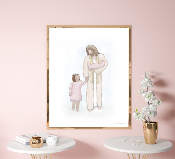 Church Art, Church Decor, Walking With Jesus, Little Girl With Jesus, I Will Walk With Jesus, Religious Wall Art, Jesus Wall Art, Jesus Art