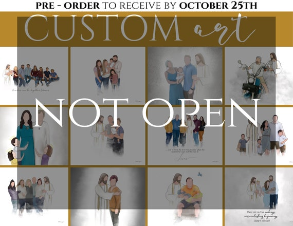 OCTOBER Pre Order Custom Art. (Not open yet) Set quantity to the number of people you'd like drawn. (Example: 2 people + Christ = 45 USD)