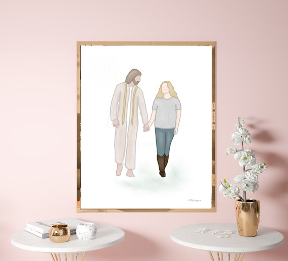 Jesus Footsteps, Walking With Jesus, Christ Walking With Woman, Comforting Gifts, Comforting Art, Printable Gift, Printable Art, Jesus Art