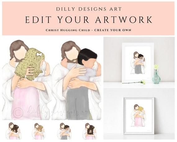 Edit Your Artwork, Christ Hugging Child, Hair Color and Hair Style, Jesus and Child, Christ and Child, Baptism Gift, Bereavement Art, Create