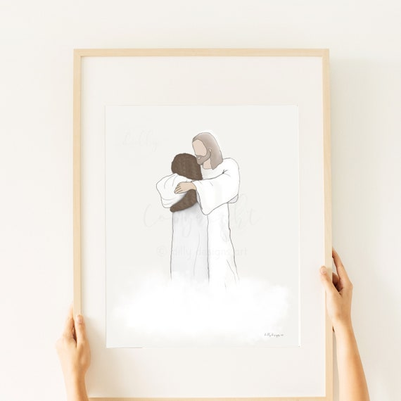 Woman Hugging Christ, Hugging Jesus, Welcome Home, Reunion In Heaven, Funeral Art, Funeral Printable, Memorial Print, Same Day Gift, Mother