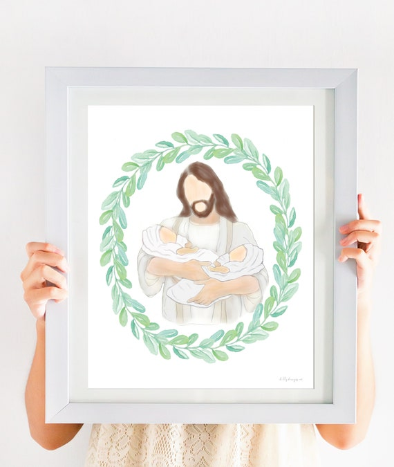Grief Gift, Twin Memorial Gift, Christ Holding Twins, Christ Holding Babies, Jesus Memorial Gift, Jesus Holding Babies, Memory, In Mourning