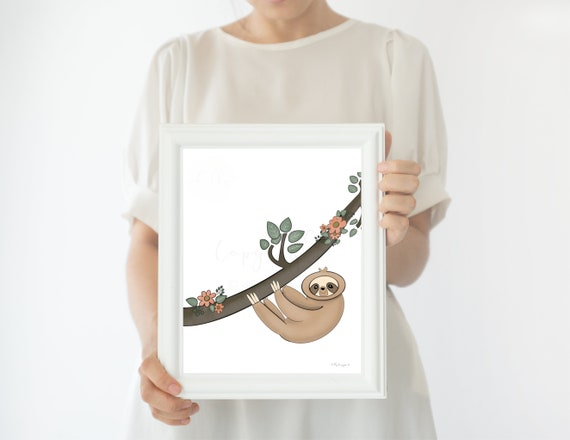 Sloth Artwork, Sloth Printable, Sloth Lover, Relax, Spirit Animal, Sloth Gifts, Sloths, Sloth Hanging, Floral Tree, Sloth Office Decor, Home